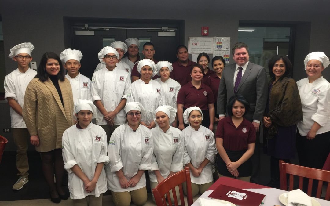 Reps. Tabares and Hernandez Meet New Morton 201 Superintendent, Visit Culinary Program Students